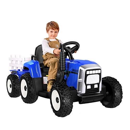 METAKOO Elektrischer Traktor mit Anhänger, 12V 7Ah Elektro Traktor Kindergeschenk mit 35W Motoren Eva Reifen, 2.4G Fernbedienung, 2+1 Gangschaltung, Hupe, Bluetooth, USB, MP3, 7-LED Scheinwerfer-Blau
