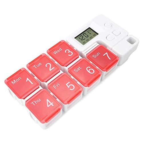 Mogokoyo Digital Tablettenbox 7 Tage Morgens Abends, Pillendose mit Wecker Alarmfunktion, Tragbar 7 Fächer Pillenbox Medikamentenbox mit Schutzhülle (Rot)