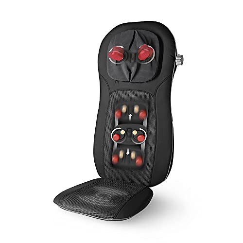 Medisana MCN Pro Shiatsu Massageauflage, Massagesitzauflage mit Vibration, Abschaltautomatik, verstellbare Nackenmassage, 3 Intensitäten, Wärmefunktion für Rücken und Nacken
