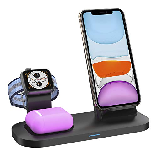 Wireless Charger Stand, Wireless Charger for Latest Airpods iPhone and iWatch, Wireless Charging Station Compatible for iPhone 11/11 Pro Max/X/XS Apple Watch Charger 5/4/3/2/1 Airpods Pro, AirPods 2