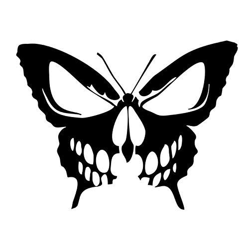 DAWASARU Custom Sunscreen Waterproof Butterfly Skull Vinyl Decal Car Sticker Die Cut Hearse Horror Rock Black/Silver 15CM*11CM