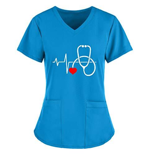 YANFANG Camisetas Bohemias de Manga Corta para Mujer, Camisetas con Cuello en V, Uniforme de Trabajo, Camuflaje navideño para Mujeres de Acción de Gracias