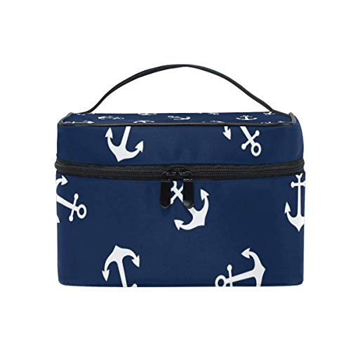 Anchors Pattern Cosmetic Bag Toiletry Travel Makeup Case Handle Pouch Multi-Function Organizer for Women