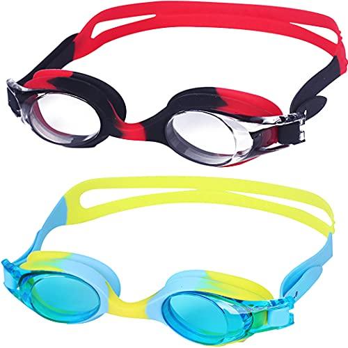 2 Pezzi Nuoto Occhialini per Piscina da Nuoto Bambini Occhiali Piscina Bambino 3-14 Occhialetti Nuoto, Anti-Appannamento Anti-Perdite con Protezione UV Facile da Regolare per Ragazzo Ragazza