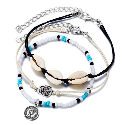 YONGHUI 3 PCS Handmade Shell Beads Ankle Bracelets For Women Summer Bohemian Beach Anklet Set Foot Chains Jewellery