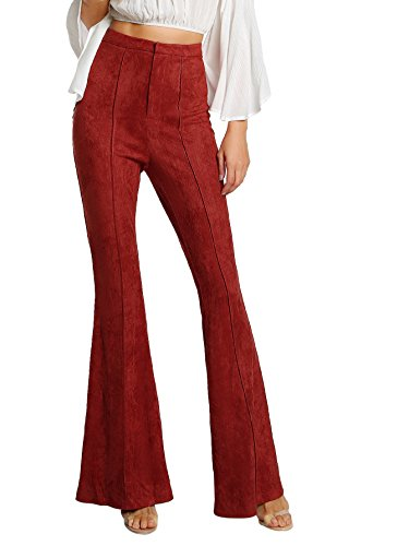 MakeMeChic Women's Elastic Waist Solid Flare Pants Stretchy Bell Bottom Trouserss Red XS