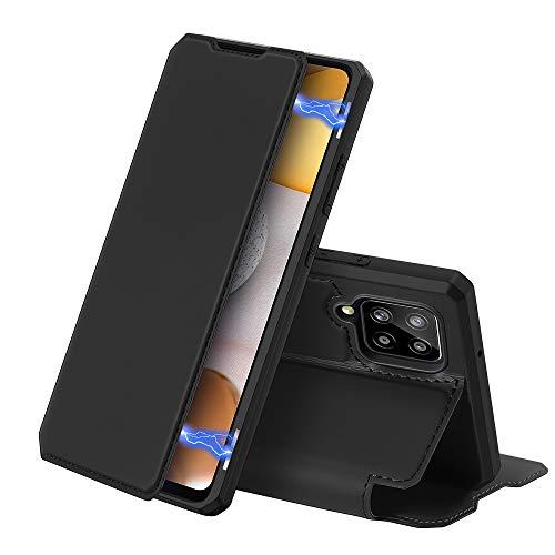 DUX DUCIS Hülle für Samsung Galaxy A42 5G, Premium Leder Magnet Klappbar Schutzhülle handyhülle für Samsung Galaxy A42 5G Tasche (Schwarz)