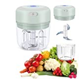 Electric Mini Garlic Chopper | Wireless Portable Grinder for Kitchen | Vegetable (Onion, Chili, Carrot, Ginger) Cutter, Fruits Blender & Meat Mincer | Green (250ml)