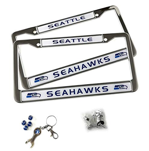 MT-Sports Store Football Team Car Licenses Plate Stainless Steel Frames & 4 Pcs Tire Valve Stem Caps (Seattle Seahawks)