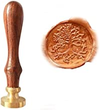 MNYR Vintage Tree of Life Personalized Custom Monogram Letter Logo Wedding Invitations Gift Card Stationary Nature Gift Sealing Wax Seal Stamp Rosewood Handle Set