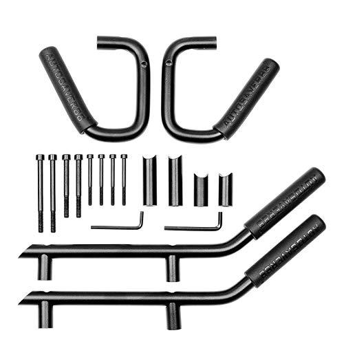 AUTOSAVER88 Front & Rear Grab Handles Roll Bar Steel Grip Compatible with Jeep Wrangler 2007-2018 JK JKU Unlimited Sports Rubicon Sahara 4 Doors (Black)