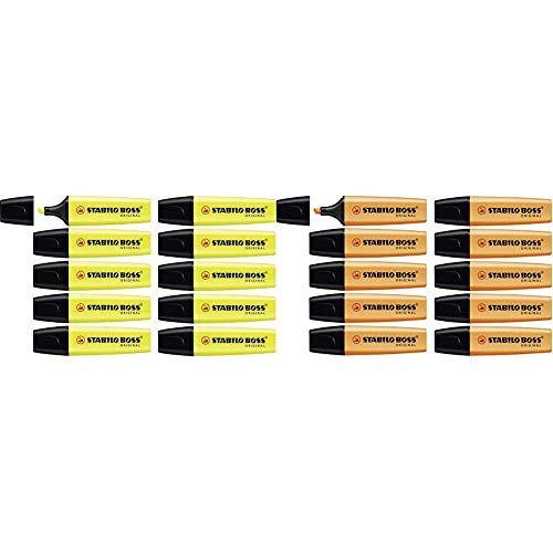 Marcador fluorescente STABILO BOSS Original - Caja con 10 unidades - Color amarillo + fluorescente - Caja con 10 unidades - Color naranja