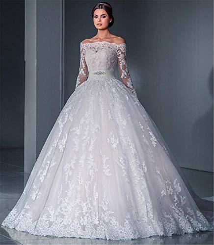 He-shop Hochzeitskleid, Brautkleid Braut Lange Ärmel Eine Schulter Spitze Schleppend Schlank Blumenstickerei Europa Und Amerika Große Größe Party Abend