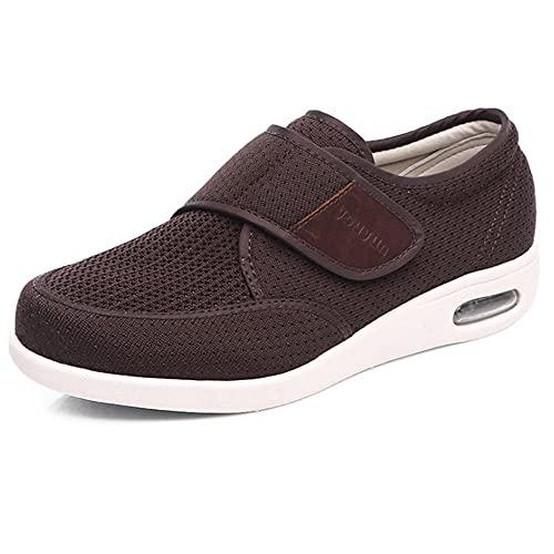 Zapatillas Ortopedicas Velcro, Summer Summer Sports Men's Shoes, Light and Portable Transpirable Gran Tamaño Casual Air Mat Shoes Padre Padre-Color café_44EU