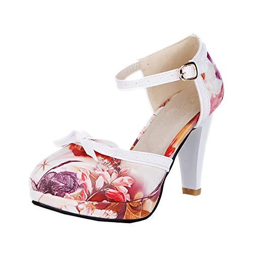 Damen High Heels Plateau Pumps mit Blockabsatz und Riemchen Rockabilly Lolita Cosplay Cute Blumenmuster Schuhe(Blumenmuster rot,37)