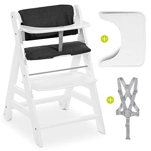 Hauck Hochstuhl Beta Plus mit Sitzkissen, Essbrett, Rollen, Schutzbügel und Gurt - Mitwachsender Holz Treppenhochstuhl mit Zubehör - Weiß Dunkelgrau