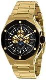 LOUIS XVI Reloj de pulsera para hombre Le Souverain, correa de acero, oro y negro, fase lunar, analógico, cuarzo, acero inoxidable 983