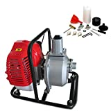 Gas Gasoline Water Pump 43CC 1 Inch Water Pump 2HP Air-cooled 2 Stroke High Flow Petrol Water Transfer High Pressure Pump for Pool Landscaping Gardening Lawn Irrigation Well Home
