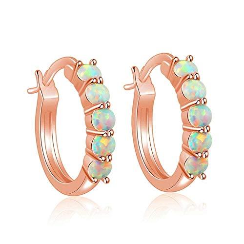 Weißer Feueropal Rose Gold Ohrringe für Frauen Edelstein Hochzeit Schmuck Geschenk Ohrringe