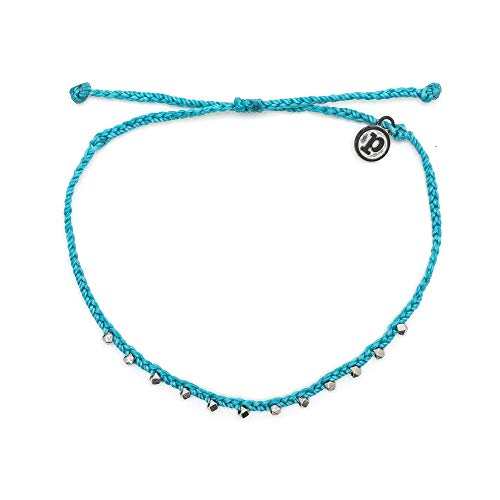 Pura Vida Silver Stitched Beaded Anklet Pacific Blue - Waterproof, Artisan Handmade, Adjustable, Threaded, Fashion Jewelry for Girls/Women