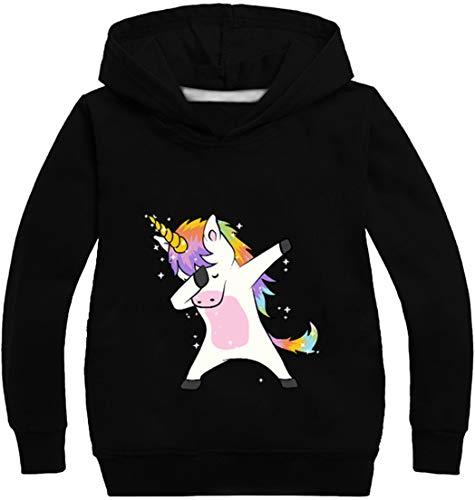 OLIPHEE Felpa con Cappuccio Stampato di Animato Unicorno Carino Felpa Sottile per Bambine e Ragazze Nero 150