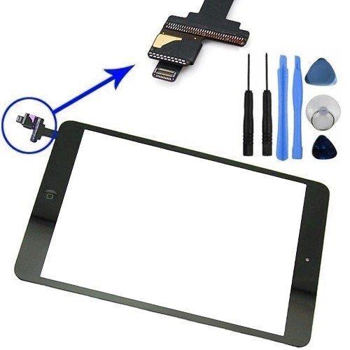 GSHENG cristal Pantalla táctil Frontal Digitalizador para iPad Mini 1/2 (Negro) Incluye IC Chip botón Cable Flex Soporte cámara Adhesivos pre instalados Kit Profesional de Herramientas