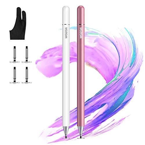 Stylus Stift für iPad Touchscreens mit Elastisch Antifouling-Handschu,Magnetkappe,4 Extra-Federn,WOEOA Universaler Eingabestift Pencil kompatibel für iPad,Samsung andere Tablets IOS,Android Smartphone