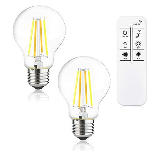 Luxvista A60 220V LED Lampe Filament 4W Dimmbar Glühbirne E27 Fasung mit Fernbedienung 2700K-6500K 360°Abstrahlwinkel Filamentstil Leuchtmittel Ersatz für 40W Glühbirne(2Stück)