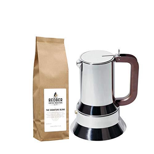 Alessi 6tazas Cafetera italiana espresso en 18/10acero inoxidable espejo pulido magnético con calor difusión inferior con 250G de café