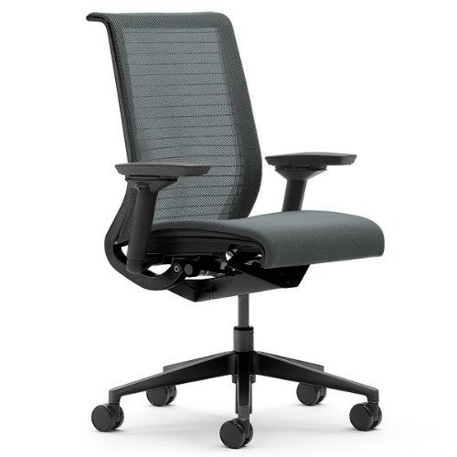 Steelcase Think Chair, Graphite 3D Knit Back with Graphite Fabric Seat
