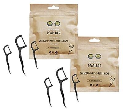 PearlBar Charcoal Floss Picks - 30 Pack of Charcoal Teeth Flossers - 100% Biodegradable (Pack of 2)