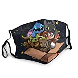 Adult Baby Yo-da,Toothless and Stitch Groot Mask Protective Facial Mask Anti UV Reusable for Ash