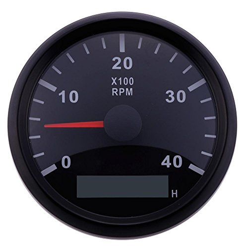 Calistouk Tacómetro Marino Indicador Medidor Odómetro de Horas 12 / 24V 0-4000 RPM 85mm