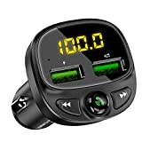 SHAYEE FM Transmitter Bluetooth 5.0,Car Audio Adapter with Dual USB Hands-Free Calls Car