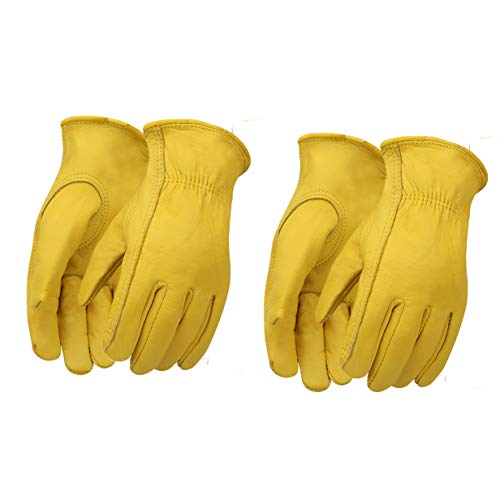 OLSON DEEPAK Cowhide Leather Waterproof Gloves for industrial production/Farm Gloves Large-2pairs