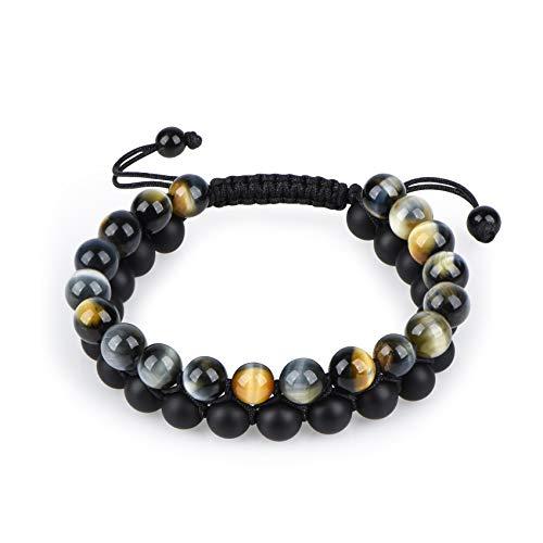 HASKARE Tiger Eye Bracelet Mens Womens Natural Stones Lava Tiger Eye Beads Bracelet Adjustable 7.5'-11', Couples