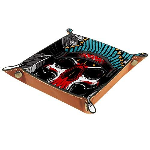 Caja de almacenamiento pequeña, bandeja de valet para hombre,cráneo indio (3),Organizador de cuero para llaves de caja de monedas