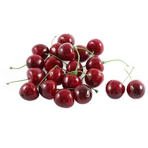 Sourcingmap® Fake-Piercing Kirsche aus Kunststoff, Party-Früchte, Essen, 20 Stück, rot/Grün DE de