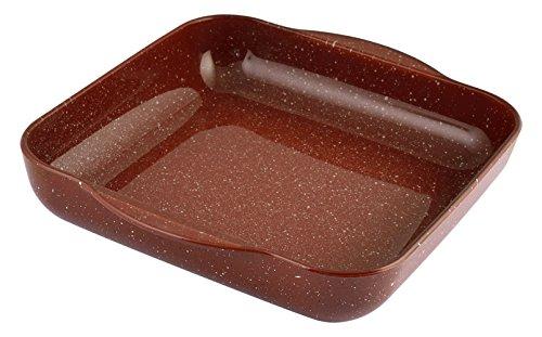 Pasabahce Granit Plat avec poignées, Verre, Rouge, 31.5 x 28.5 x 5.5 cm