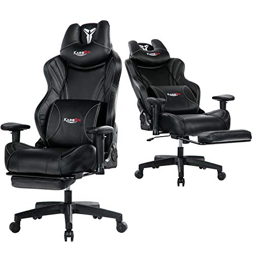 Kasorix Big and Tall Gaming Chair with Footrest,Black Gamer Chair with Adjustment Armrest,High Back Racing Chair Up to 400 Pounds (Black-8523)