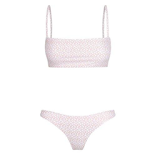 EUCoo Women Fashion Casual Swimwear Trendy Dot Leaf Print Bikini Ladies Bandeau Bandage Push-Up Brazilian Thong Swimsuit Pink