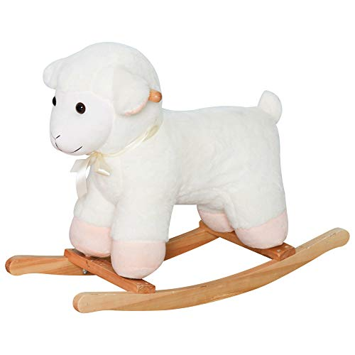 Qaba Lamb Rocking Horse Sheep, Nursery Stuffed Animal Ride On Rocker for Kids, Wooden Plush, White