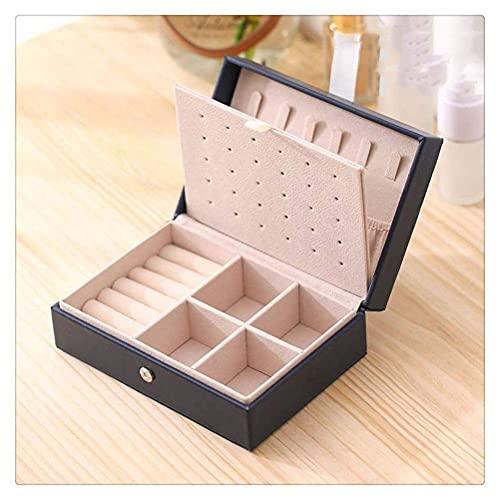JIANGCJ Bonita caja de joyería de doble capa organizador portátil anillo de viaje reloj de cuero Display caso de almacenamiento para pendientes collar (color azul 01)