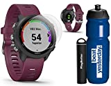 Garmin Forerunner 245 (Berry) Runner's Bundle | +Garmin Water Bottle, HD Screen Protectors & PlayBetter Portable Charger | PulseOx | Running GPS Watch | 010-02120-01