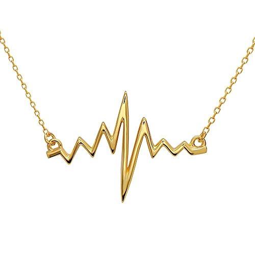 EKG Herzschlag Anhänger Halskette aus 925 Sterlingsilber mit Überzug aus 18k Gold, Rhodium und Roségold für Nerds Student Geschenk Freundin Frau Geburtstag by Serebra Jewelry (18k-Gold-Überzug)