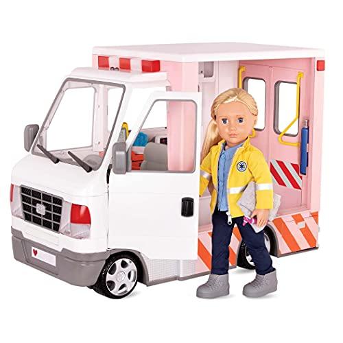 Our Generation - Rettungswagen mit Accessoires - Zubehör für 46cm Puppen, Ambulanz mit Licht und Sound, medizinische Accessoires - ab 3 Jahren - 45331