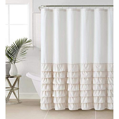 D&H 1 Piece Taupe Brown Gypsy Ruffle Shower Curtain Bohemian Ruffled Pattern Layered Overlapping Ruffles Gypsies Hippie Themed Hippy Layers, Polyester