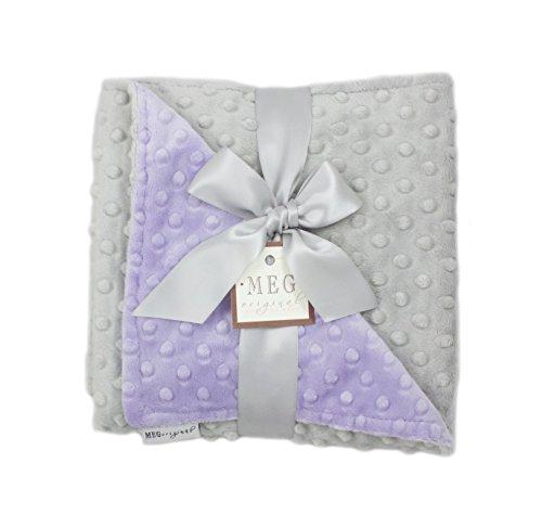MEG Original Lavender & Gray Minky Dot Baby Girl Blanket