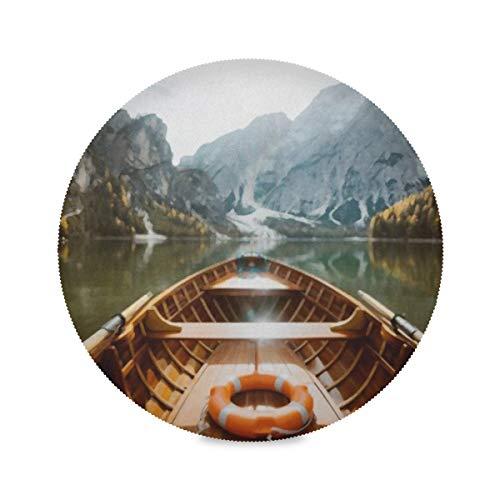YUXB Runde Tischsets Falten- und Hitzebeständigkeit Polyester Schöne Aussicht Traditionelle Ruderboot-Tischsets aus Holz 4er-Set Tischsets für die Küche