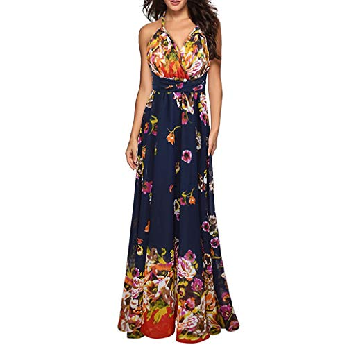 DQANIU- Damen-Kleid, Kleidung, Schuhe & Accessoires - Kleid Damen V-Ausschnitt gedruckt Bandage...